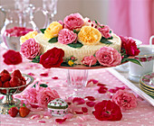 Cake decorated with historic rose petals