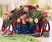 Strauß mit Pennisetum / Federborstengras, Brassica / Zierkohl,