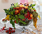Malus / Zieräpfel, Hedera / Efeu, Rosa / Hagebutten, Rubus / Brombeerblätter, Dianth