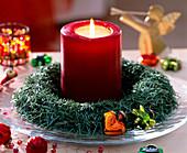 Kerzenkranz aus Abies procera 3/3. Nadeln von Nobilistanne, Baumschmuck