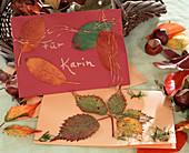 Blüten u. Blätter pressen / Grußkarten selbstgemacht
