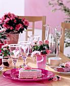 Rosa chinensis / Topfröschen, Azalea = Rhododendron simsii