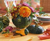 Cucurbita / grüner Kürbis als Vase, Zierkürbisse, Dahlia, Anethum / Dill, Tagete