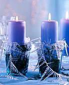 Abies procera / Nobilistannennadeln als Kerzendeko, hellblaue Kerzen, Gläser, Ei