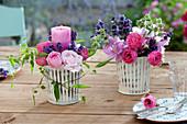 Windlicht mit Lavandula (Lavendel) und Rosa (Rosen),