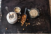 Vegan ingredients for raw baking: cashews, buckwheat, coconut and almonds