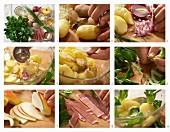 Kartoffelsalat mit Feldsalat, Lachsschinken und Apfel zubereiten