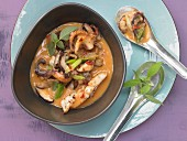 Thai Calamari with coconut milk and shiitake mushrooms
