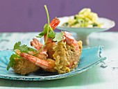 Fried prawns with hot pineapple salsa