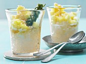 Tapioca pudding with fruit, palm sugar syrup and coconut