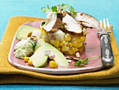 Chicken salad with corn and avocado cream (Mexico)