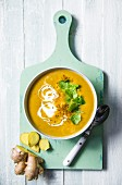 A bowl of spiced lentil soup with ginger, coriander and cumin