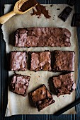 Chocolate brownies on baking paper