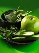 Green veggies and Apple