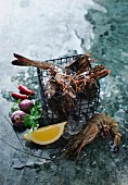 Fresh prawns in a wire basket