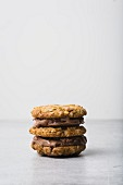 Oat cookie and chocolate ice cream sandwich