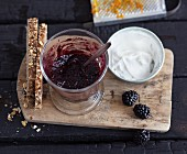 Vegetarian blackberry and cranberry jam