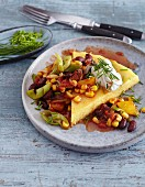 Vegetarian polenta with chilli vegetables