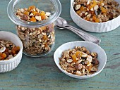Granola with coconut chips and dried apricots