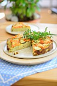 Potato tart with vegetables and herbs