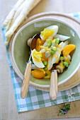 Asparagus and egg salad with mandarin oranges