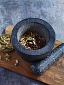 Oriental spices in a mortar