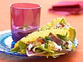 Tuna tacos with japaleno and avocado