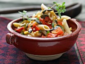 Mexican noodle salad with spicy jalapeños
