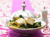 Indian cheese with coconut spinach and aromatic spices