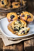 Vanilla and blueberry muffins
