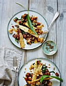 Warm aubergine salad with grilled bamboo and mushrooms (low carb)