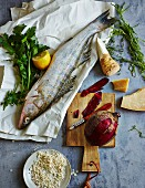 Ingredients for low-carb main dishes with fish and meat