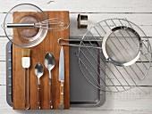 Kitchen utensils making tostaditas