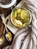 Hot ginger lemon thyme honey tea