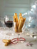 Cheese straws and wine