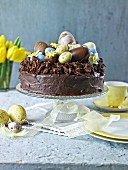 Chocolate cake topped with easter eggs