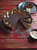 Chocolate mousse tart topped with sugar shards