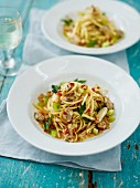 Cockle and Crab Linguine with Green Tomatoes and Chilli