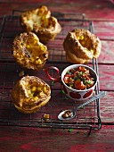Corn muffins with tomato relish