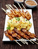 Satay chicken and King Prawns with Pineapple Chili Salad