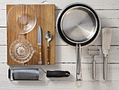 Kitchen utensils for making potato crostini with mackerel