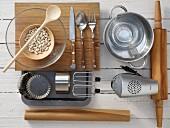 Kitchen utensils for making onion tartlets