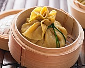 Steamed dumplings stuffed with bok choy and tofu