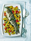 Bass with rosemary and vegetables for Christmas