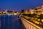 The view from the Puente de Isabel II bridge in Sevilla, Andalusia, Spain by night