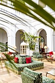 Lounge in the inner courtyard of the Finca Cortesin hotel in Málaga, Andalusia (Spain)