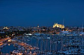 View of the harbour and cathedral of Palma at night, Mallorca, Spain