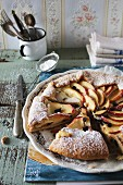 Crostata with ricotta, apple and chocolate chips