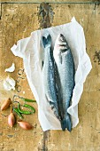 Fresh sea bass on parchment paper