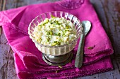 Pistachio rice pudding with saffron (India)